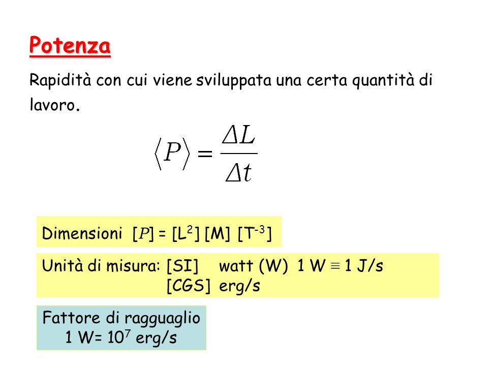 Dimensioni [P] = [L2] [M] [T-3]
